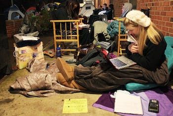 Students camp out and line up for various suites on campus. Some have been at Morrison since last Wednesday night. 