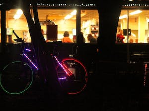 The Town of Carrboro, the Recreation and Parks Department, Go Chapel Hill and the Carrboro Bicycle Coalition sponsored Friday Night Lights, an event where bicyclists decorated their rides with various lights and competed for prizes.
