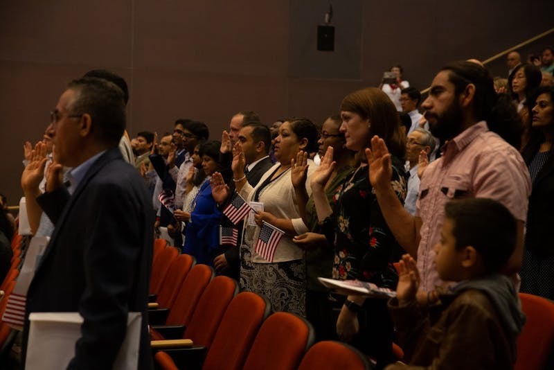 New citizens are sworn in on April 12, 2019 at the FedEx Global Education Center.