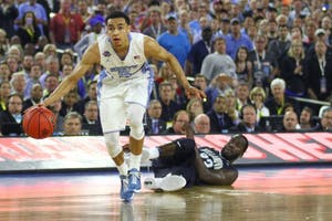 Former North Carolina guard Marcus Paige dribbles in the 2016 national championship game.