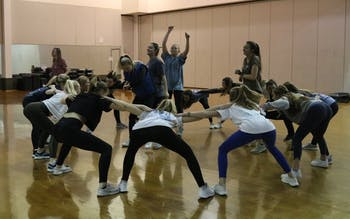 Members of Zeta Tau Alpha rehearse for the Ninth Annual Greek Groove at the Student Recreation Center on Monday, March 4, 2019. ZTA is the reigning champion of Greek Groove, a dance competition among UNC sororities where proceeds help to benefit the UNC Center of Excellence for Eating Disorders.