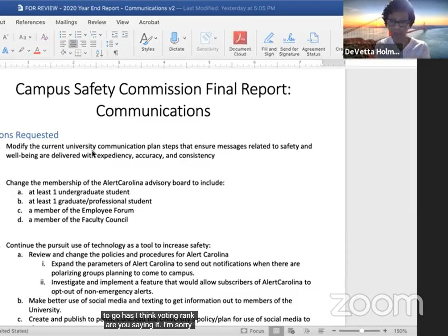 The Campus Safety Commission held a supplemental meeting to review subcommittee recommendations relating to communications and the safety of marginalized communities Wednesday, April 22, 2020.