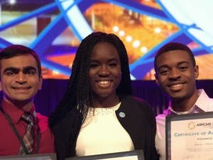 (From left to right) senior Keshav Patel, sophomore Bolatito Babatunde and junior Darius Johnson, three of the five Chancellor's Science Scholars who won at the three STEM conferences held over the past two months. (Photo courtesy of Richard Watkins)