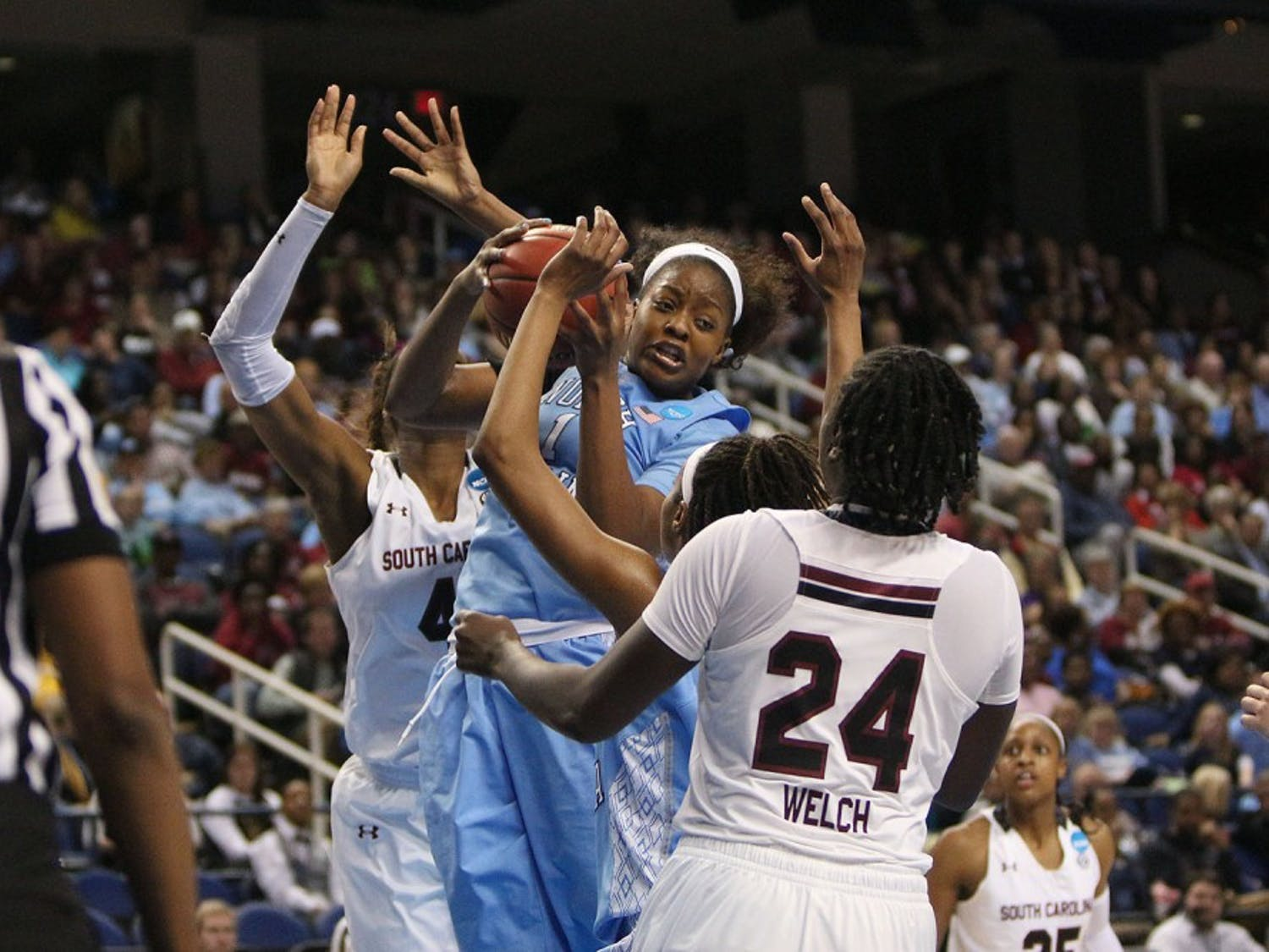 Forward Stephanie Mavunga (1) is the third UNC women's basketball player to transfer this summer.