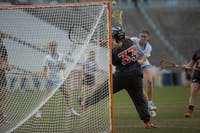 Senior attacker Ela Hazar (7) takes a shot against Virginia Tech on March 28 at Kenan Stadium.