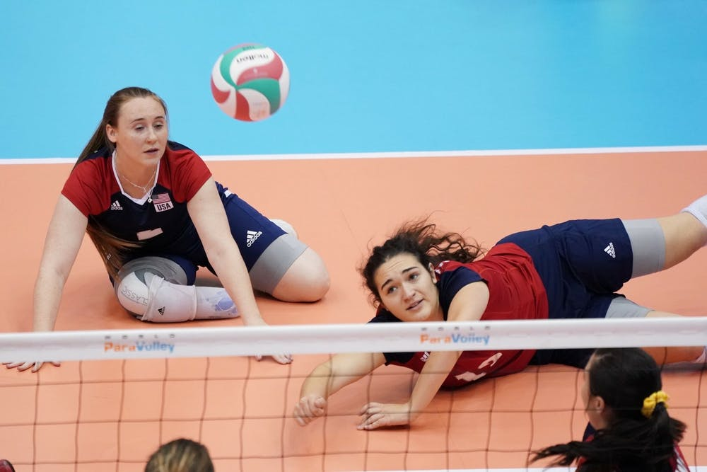 <p>Emma Schieck plays Paralympic Sitting Volleyball. Photo courtesy of World ParaVolley.</p>