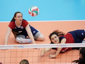 Emma Schieck plays Paralympic Sitting Volleyball. Photo courtesy of World ParaVolley.