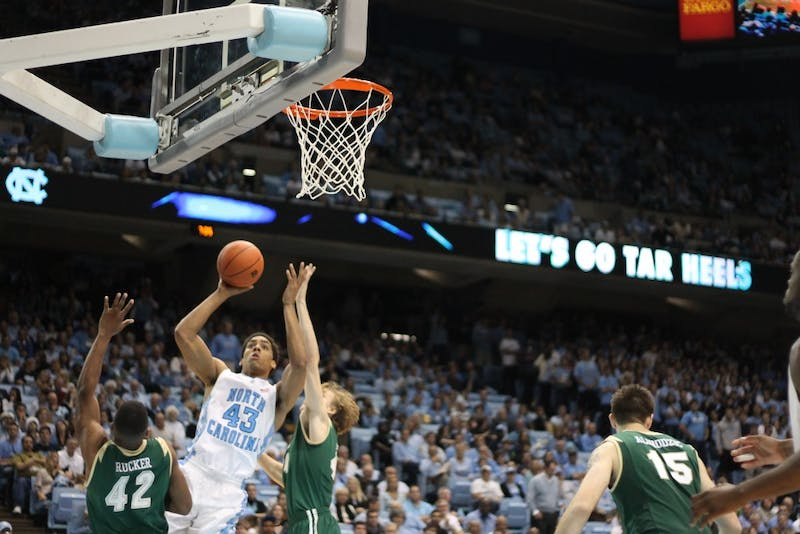 James McAdoo goes up for a shot at the UNC men's basketball game Friday night against UAB.  UNC won 102-84.