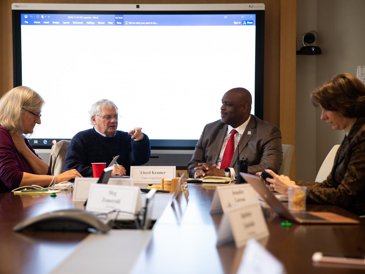 (From left) Faculty Governance University Program Specialist Helena Knego, Chairperson Lloyd Kramer, UNC Police Chief David Perry and Joy Renner convene in South Building for a Faculty Executive Committee meeting to discuss campus safety measures in the wake of Perry's appointment as chief on Monday, Nov. 4, 2019. Perry emphasizes a need for the police to build a rapport with the community.