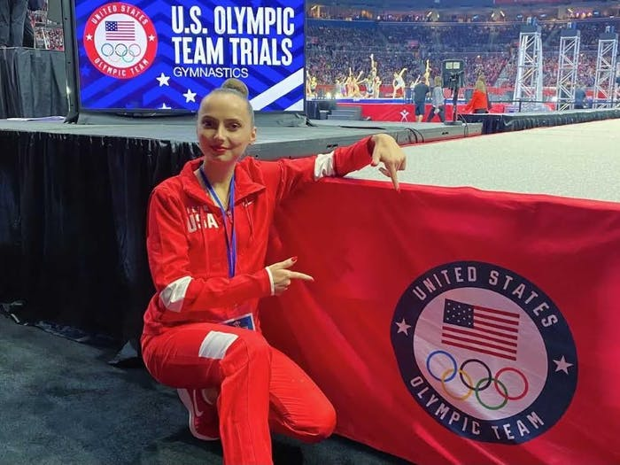 UNC sophomore psychology major and Olympian Camilla Feeley poses at the U.S. Olympic Team Trials. Photo courtesy of Liza Pletneva.