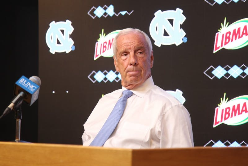 UNC Men's basketball head coach Roy Williams speaks to the press during the UNC Men's Basketball Media Day in the Dean Smith Center on Wednesday, Oct. 2, 2019.