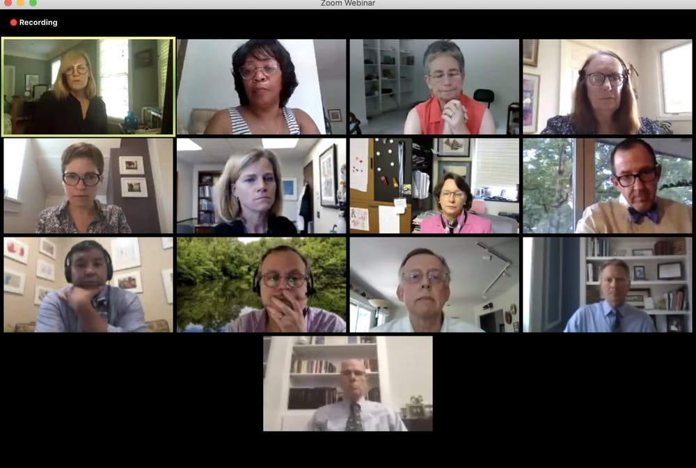 Screenshot of Faculty Executive Committee meeting on Aug. 18.