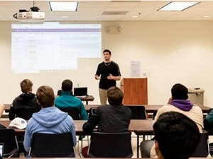 UNC's Impact Investing Club, as pictured in 2019, was founded the year prior in 2018 to educate students who want to bridge their passions of finance and sustainability. Photo courtesy of Justin Fligstein.