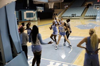 The UNC women's basketball team trains in a skirmish during an open practice in Carmichael Arena on Thursday, Sept. 26, 2019.