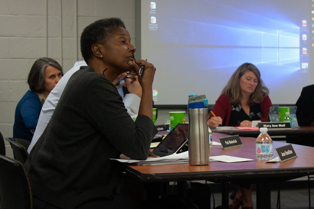 <p>Chapel Hill-Carrboro City Schools Board of Education members listen to comments from the public during a work session on Thursday, Oct. 3, 2019 in Chapel Hill.</p>