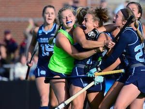 UNC celebrates Eva van't Hoog's game-tying goal against UConn in the NCAA semifinals (Provided by Jeffrey Camarati/ GoHeels)