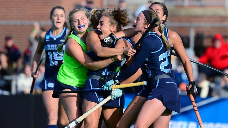 UNC celebrates Eva van't Hoog's game-tying goal against UConn in the NCAA semifinals (Provided by Jeffrey Camarati/ GoHeels)