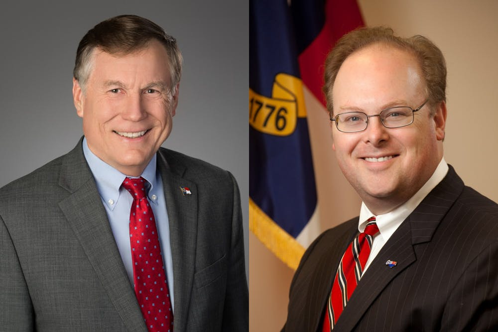 <p>Mike Causey (left), Republican, and Wayne Goodwin, Democrat, are the candidates for N.C. commissioner of insurance. Photos courtesy of Causey and Goodwin.</p>