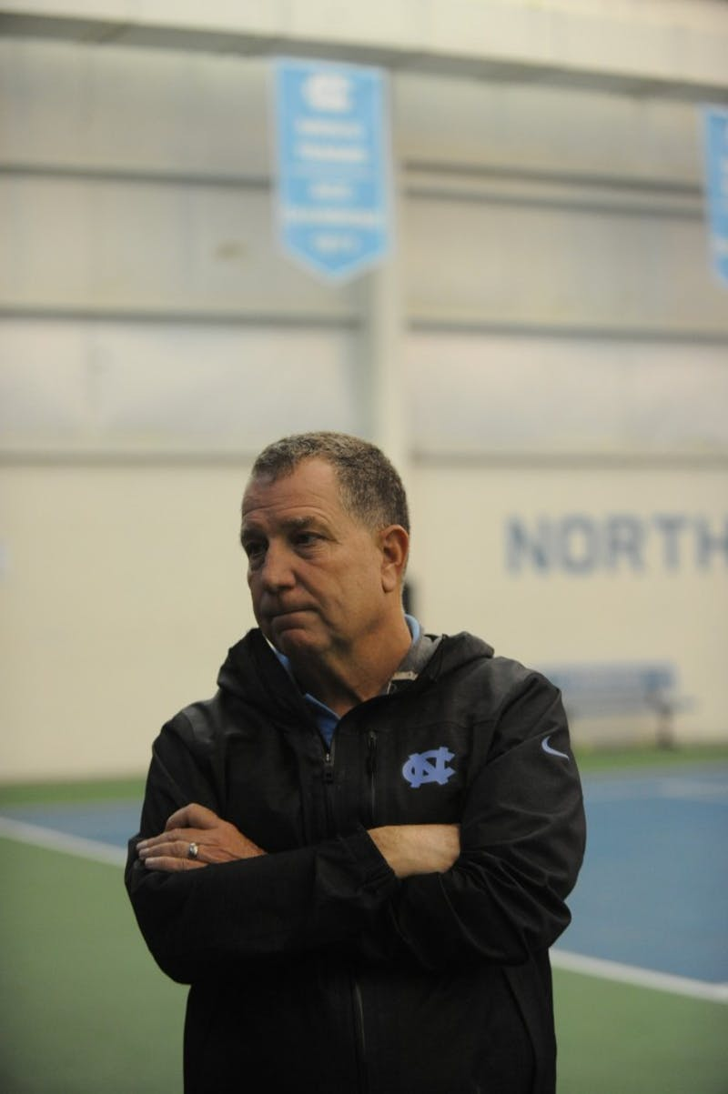 UNC men's tennis head coach Sam Paul is interviewed after a series of matches against Bucknell University on Saturday, Jan. 19. 2019
