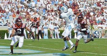 Sean Tapley (6) recieves a 19-yard pass from Bryn Renner to score. Tapley scored two touchdowns in the drubbing of Virginia Tech.  The sophomore has four touchdowns this season.