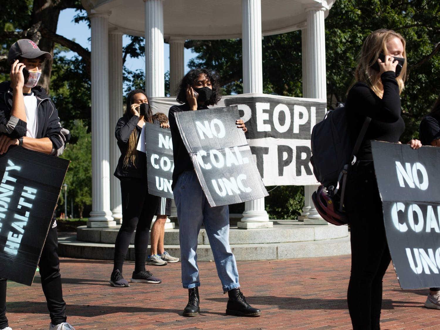 UNC sophomore Deeksha Mittal and other UNC students call Chancellor Guskiewicz to demand the university take accountability for UNC's coal plant on Tuesday, Sept. 22, 2020.