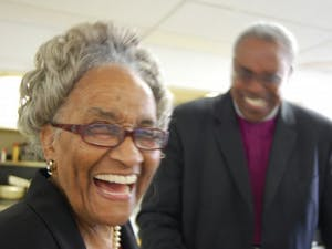 Mrs. Marian Cheek Jackson and Bishop Thomas Hoyt, Jr. at the 110th Anniversary of St. Joseph CME Church. Photo Courtesy of Hudson Vaughan/Jackson Center.
