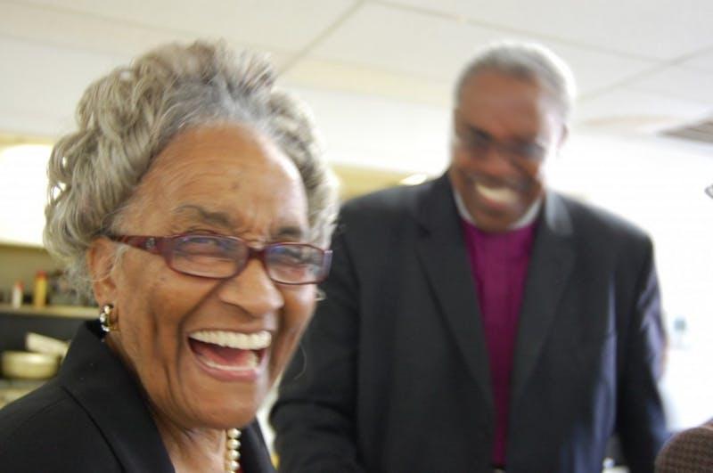 Mrs. Marian Cheek Jackson and Bishop Thomas Hoyt, Jr. at the 110th Anniversary of St. Joseph CME Church. Photo Courtesy ofHudson Vaughan/Jackson Center.