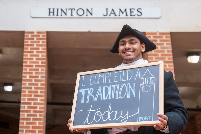 Neeral Patel dressed as Hinton James on Hinton James Day on Feb.12, 2020. Every year a student dresses up as James and passes out Bojangles' biscuits to Hinton James Residence Hall residents. Hinton James was the first student to enroll at UNC about one month after it opened in 1795.