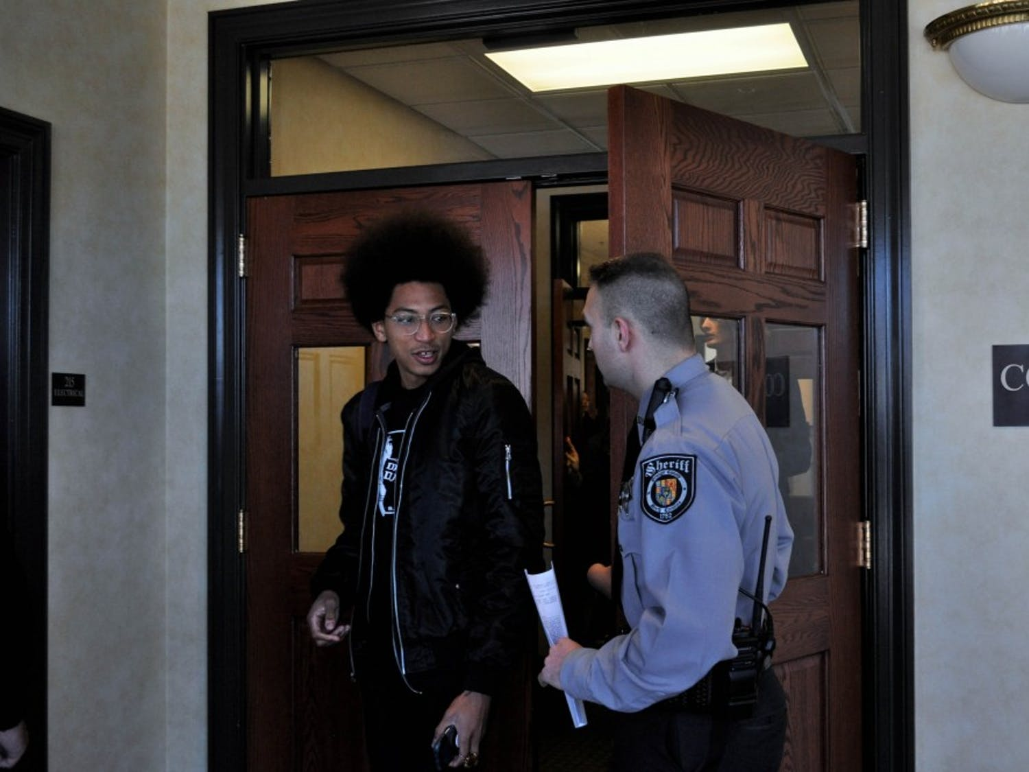 Jonathan Fitzgerald Fuller exits Courtroom 4 at the Orange County Courthouse in Hillsborough on Friday, Jan. 18, 2019. Fuller was one of several people charged with misdemeanor rioting and misdemeanor defacing a public monument following the toppling of Silent Sam on Aug. 20, 2018.