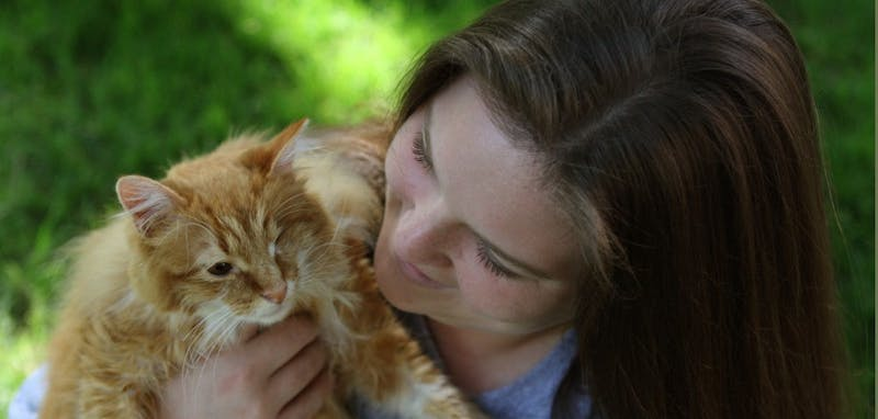 Alex Lane holds her cat, Oliver, who she rescued a year ago when she found him at Fraternity Court with an eye injury. She nursed him back to health and then assisted in spaying and neutering the other cats living around Fraternity Court. Lane is traveling to Japan this month to help with animal relief.