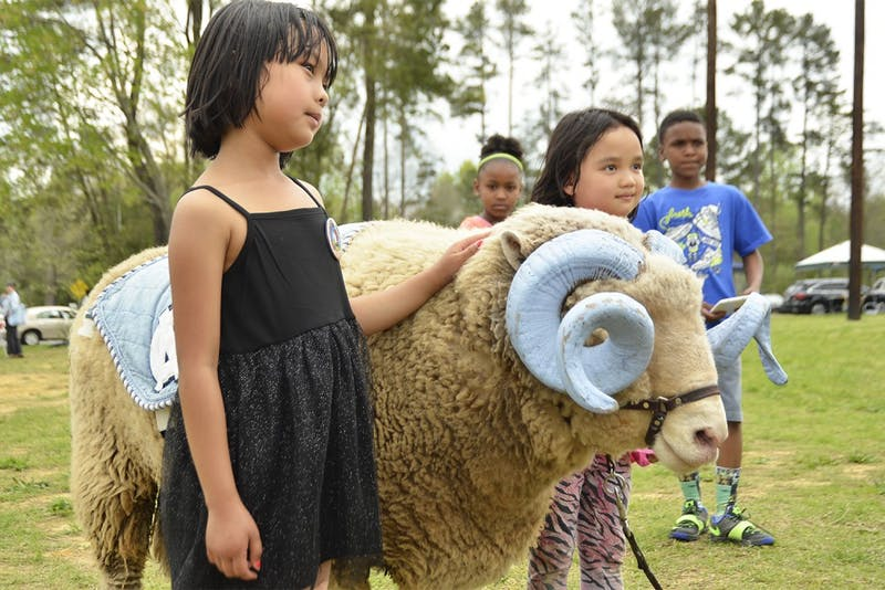 Rogers Road Community Center hosted an event on Saturday afternoon with games, picnics, music and information booths. Lah Zar Wei, 7, petted Ramses at the event with Suzie Karen.