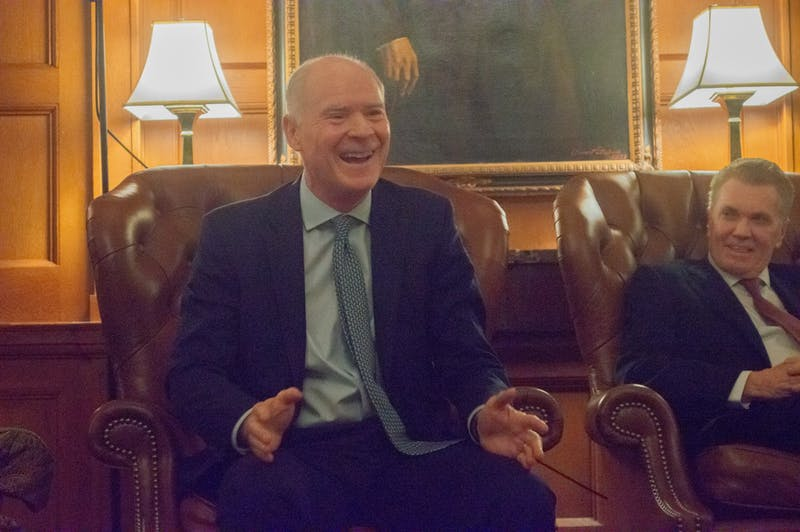 Former White House Special Assistant to the President and National Security Council Member Bob Kyle talks about his experiences working on Capitol Hill at the Corridors of Power talk on Tuesday Nov 19 at the UNC Chapel Hill Moreheard Lounge.