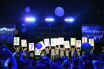 Students who participated in the 2015 UNC Dance Marathon celebrate Saturday night in Fetzer Gym after raising $570,561.41 for the patients at North Carolina Children's Hospital.