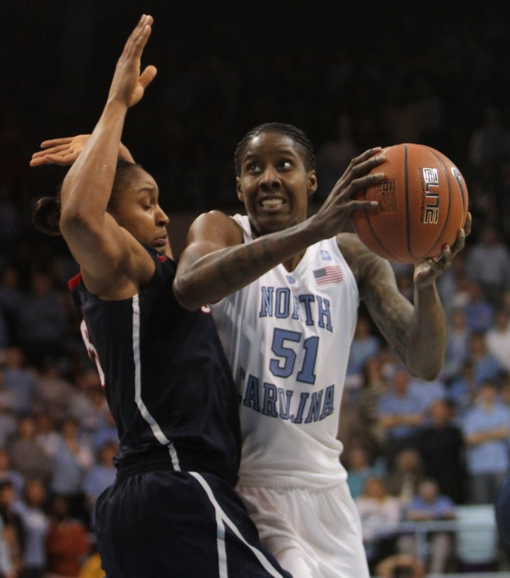"""<p>Senior Jessica Breland leads <span class=""""caps"""">UNC</span> in defensive rebounds this season after missing all of last year while being treated for Hodgkin's lymphoma. Breland will be out for at least 10 days as she recovers from a knee injury.</p>"""