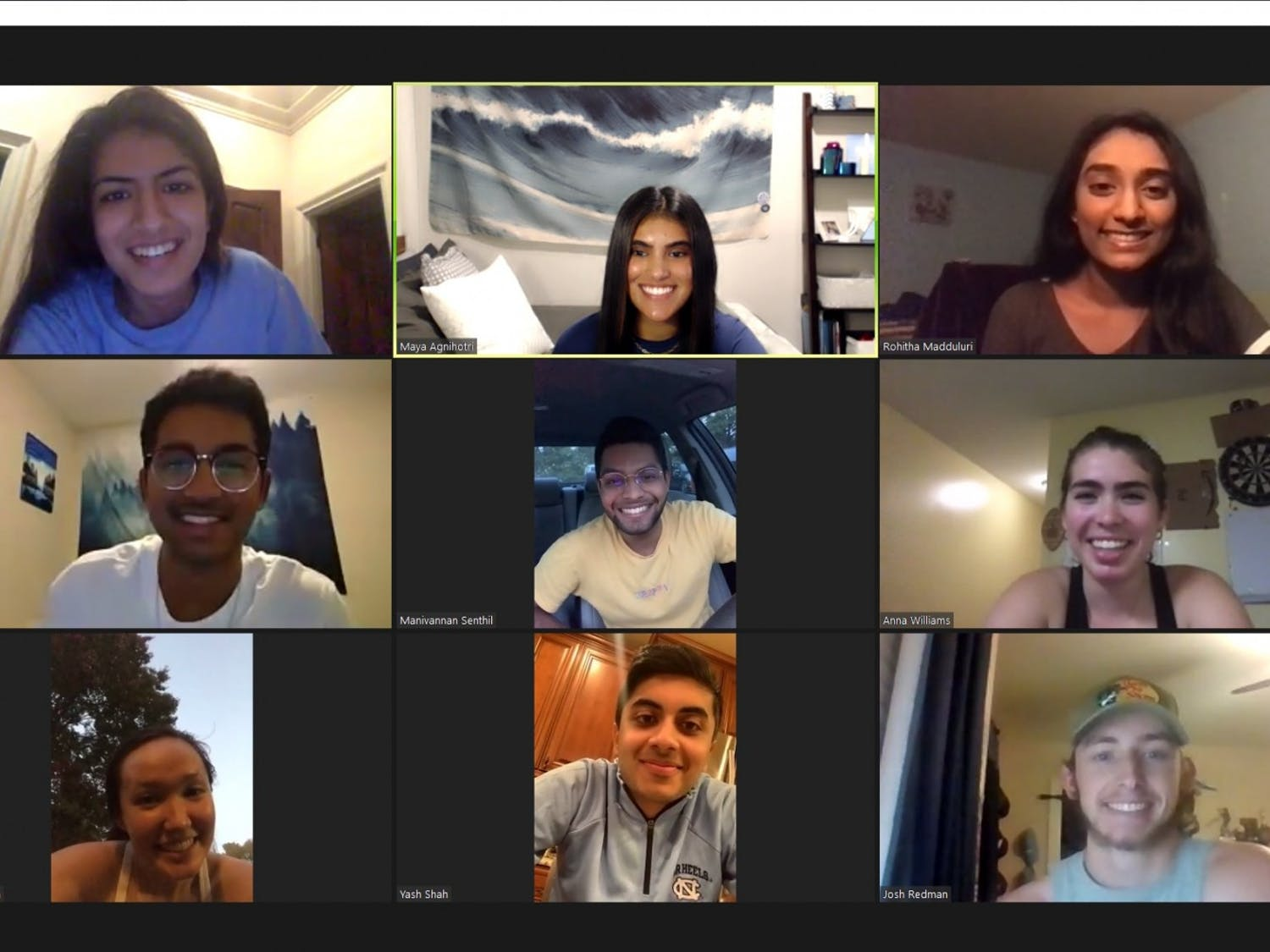 The Executive Board of Kappa Theta Pi, like many other groups, now holds meetings virtually over Zoom. Photo courtesy of Maya Agnihotri.