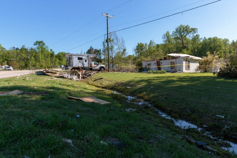3209 Old Highway 86, Hillsborough NC lies damaged and abandoned after sustaining damage during the tornado last Friday.