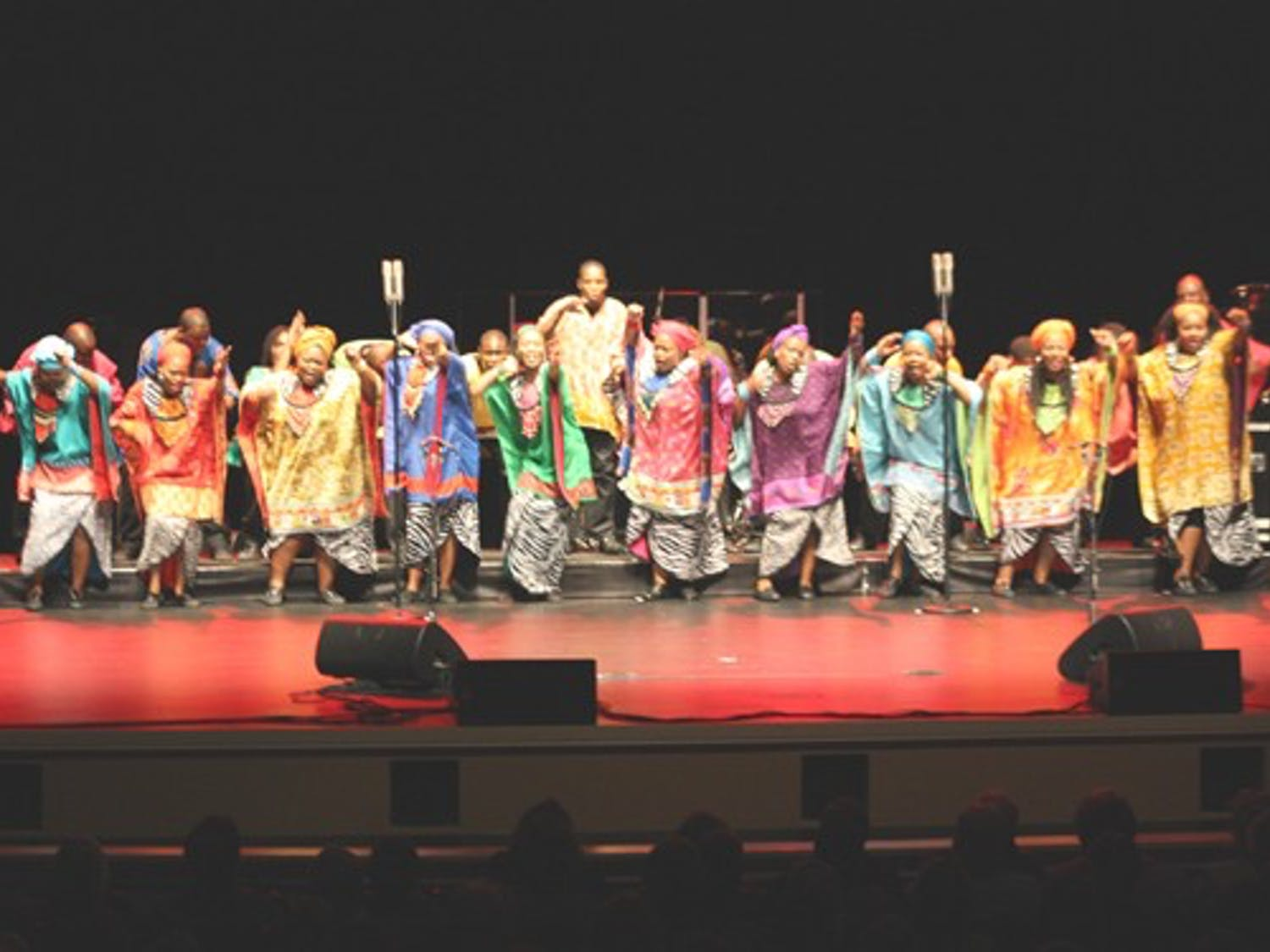 The Soweto Gospel Choir energetically performed song and dance at Memorial Hall on Sunday.  DTH/Gladys Manzur