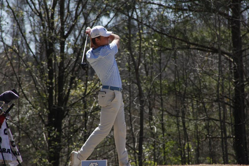Junior Austin Hitt driving the ball during UNC's win at the second day of the Tar Heel Intercollegiate, hosted at Finley Golf Course on Sunday, March 24, 2019.