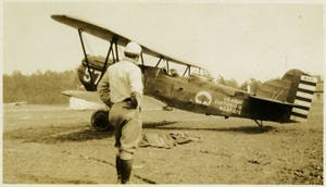 A U.S. Army Curtiss plane on Martindale Field, which later became Horace Williams Airport. Taken in the 1930s. Photo courtesy of the Chapel Hill Historical Society.