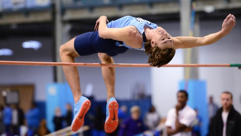 Redshirt sophomore high jumper Draven Crist cleared a career-best 7.025 feet duringt the Art and Linda Maillet Open on Feb. 3 at Eddie Smith Field House. Photo courtesy of UNC Athletics Communications
