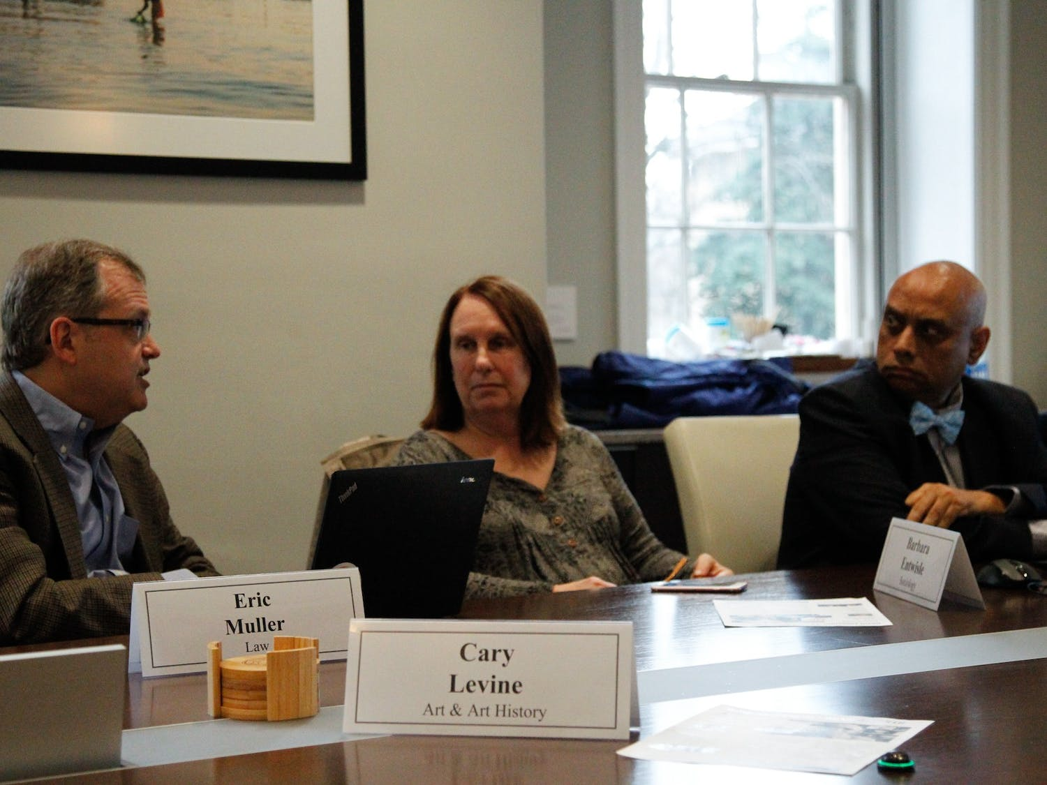 (From left) Eric Muller, Barbara Entwisle, and Deb Aikat discuss topics in the Faculty Executive Committee Meeting on Monday, Feb. 24, 2020 in the South Building. The committee received a Provost update, discussed Public Records Discussion, met the New Senior Administrator George Battle, and had a Campus Safety Commission Update.