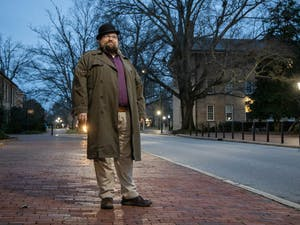 UNC alum Ryan Jenkins, who leads the Law Enforcement and Legislative Reform Committee of the North Carolina Democratic Party Progressive Caucus, poses for a portrait outside of South Building on Monday, March 1, 2021. Jenkins' committee was nominated for a Nobel Peace Prize by UNC philosophy professor Ram Neta, who taught Jenkins during his time at the university.