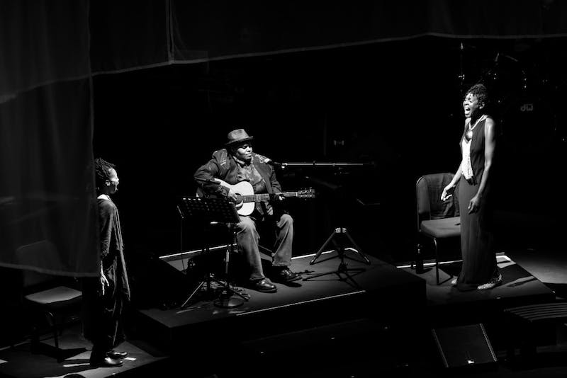 """Toshi Reagon performs during Octavia E. Butler's """"Parable of the Sower"""" US debut at Carolina Performing Arts. Photo by Waleed Shah."""