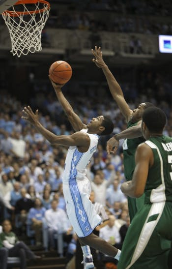 Dexter Strickland brings a drive to the basket that went unequaled by any Tar Heel guard last season. The sophomore will return to his normal position of 2-guard this year with the addition of Kendall Marshall.