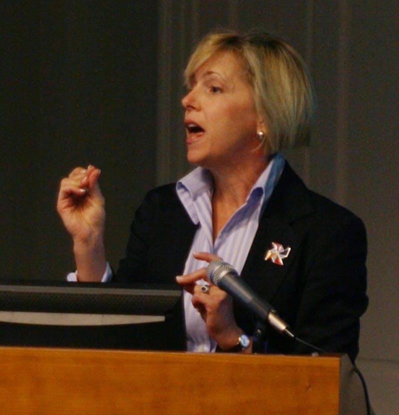 Patti Thorp, wife of Chancellor Holden Thorp, speaks about UNC's Build-a-Block fundraiser at the October employee forum meeting Wednesday.