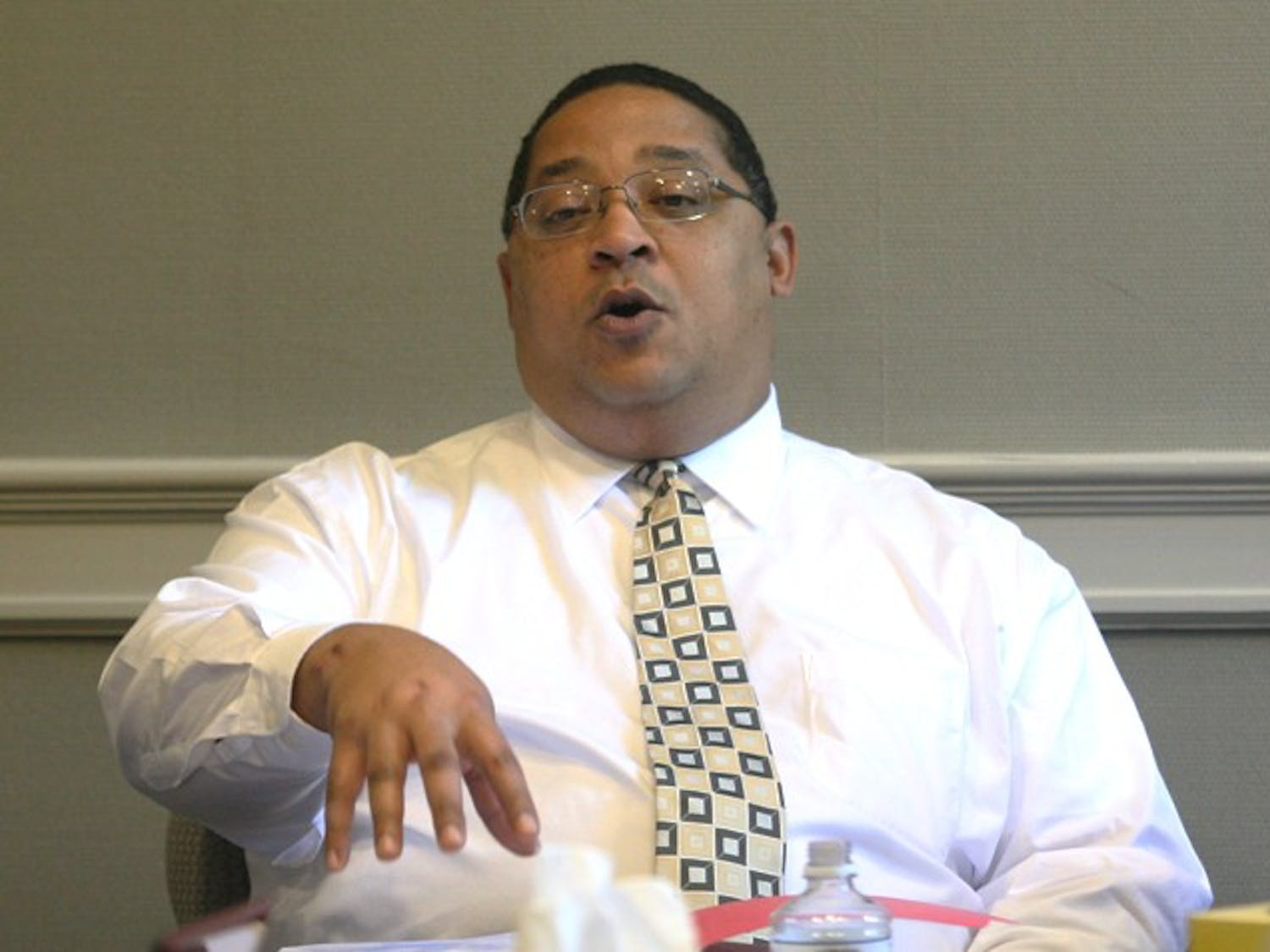 Winston Crisp, Vice Chancellor for Student Affairs, debates the importance of the type of degree that should be required for applicants for the position of Associate Provost for Diversity and Multicultural Affairs. The search committee for the next person to fill this position met Monday to discuss the progress of the search as well as to make amendments to requirements and expectations for applicants.