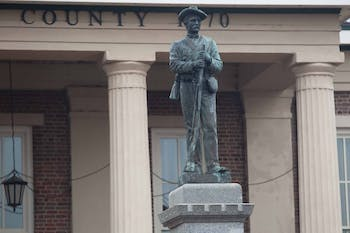 A Confederate monument stands Wednesday afternoon, Oct. 30, 2019, in front of  Chatham County Courthouse in Pittsboro. On Monday, Oct. 28, 2019, a superior court judge halted the plans for its removal.