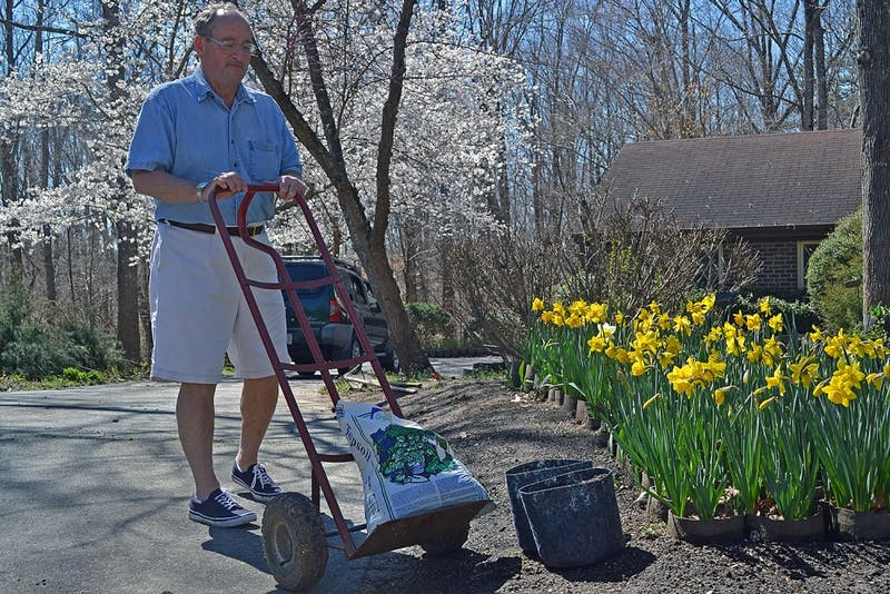 Creighton Moeller, founder of Project Stackhouse, plants flowers outside of his Chapel Hill home to benefit the therapy dog program at UNC Children's Hospital.
