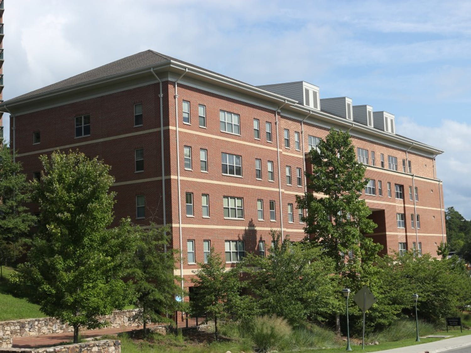 Taylor Hall, also known as Ram Village 4 is a residence hall that is located on South Campus behind the first-year dorm, Hinton James. This is one of the five buildings that makes up the Ram Village Community.