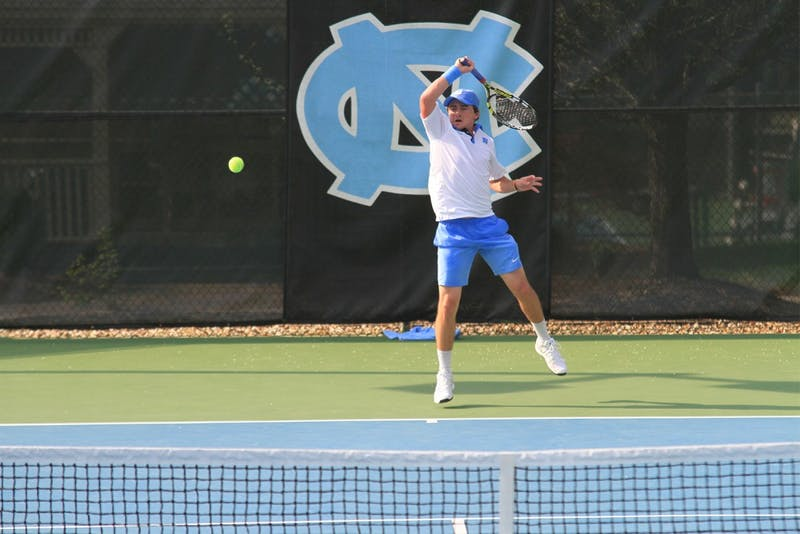 North Carolina sophomore Ronnie Schneider plays a singles match on Thursday afternoon at UNC.